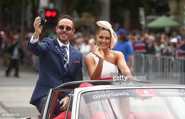 Donny Galella and Stephanie Smith are seen during the 2016 Melbourne Cup Parade on October 31 2016 in Melbourne Australia