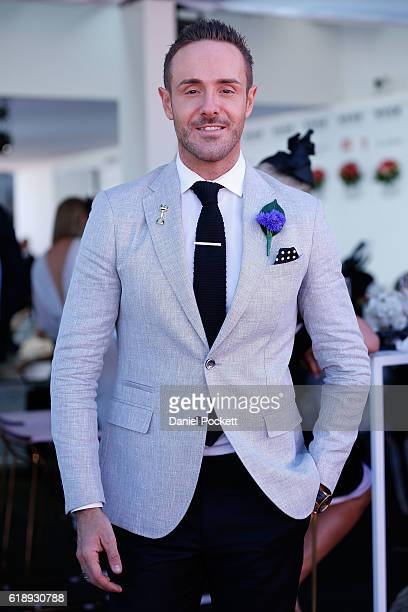 Donny Galella poses at the Fashions On The Field Marquee on Victoria Derby Day at Flemington Racecourse on October 29 2016 in Melbourne Australia