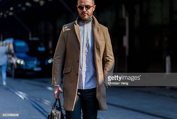 SYDNEY AUSTRALIA MAY 19 Donny Galella wearing a brown coat at MercedesBenz Fashion Week Resort 17 Collections at Carriageworks on May 19 2016 in...
