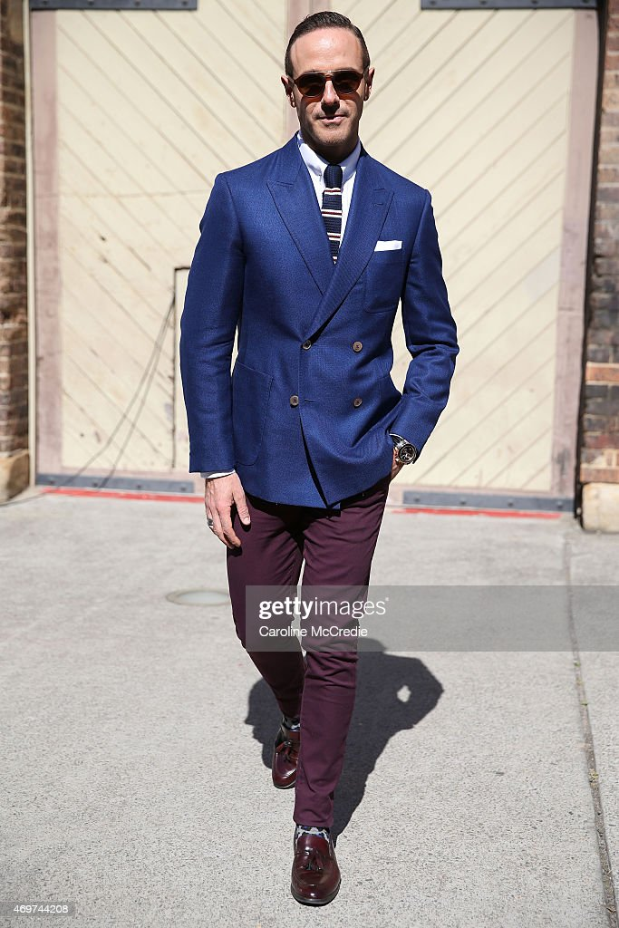 Donny Galella wearing Topman jeans and custom jacket at MercedesBenz Fashion Week Australia 2015 at Carriageworks on April 15 2015 in Sydney Australia