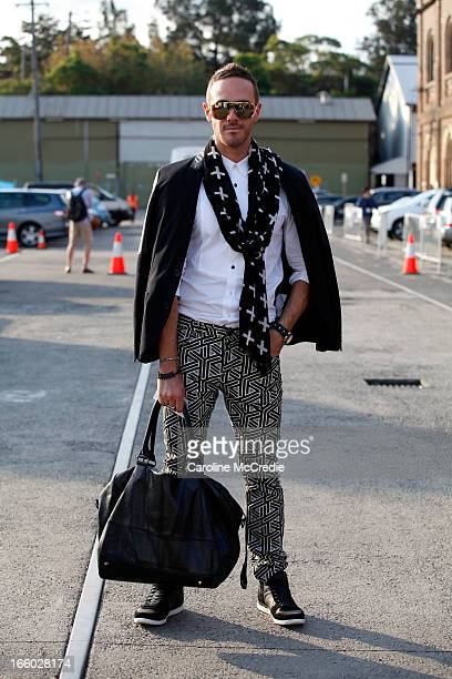 Donny Galella wears a dsqrd shirt blazer by Zara jeans by HM and shoes by Alexander McQueen at MercedesBenz Fashion Week Australia Spring/Summer...