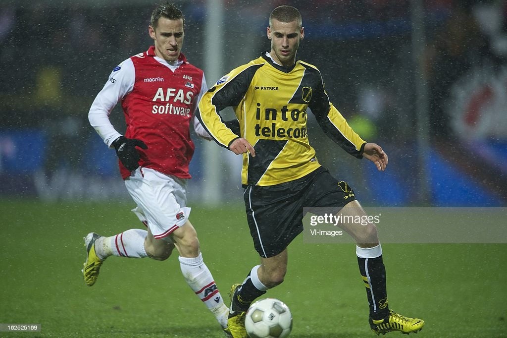 Donny Gorter of AZ, Danny Verbeek of NAC Breda during the Dutch Eredivisie Match between AZ Alkmaar and NAC Breda at the AFAS Stadium on february 24, 2013 in Alkmaar, The Netherlands
