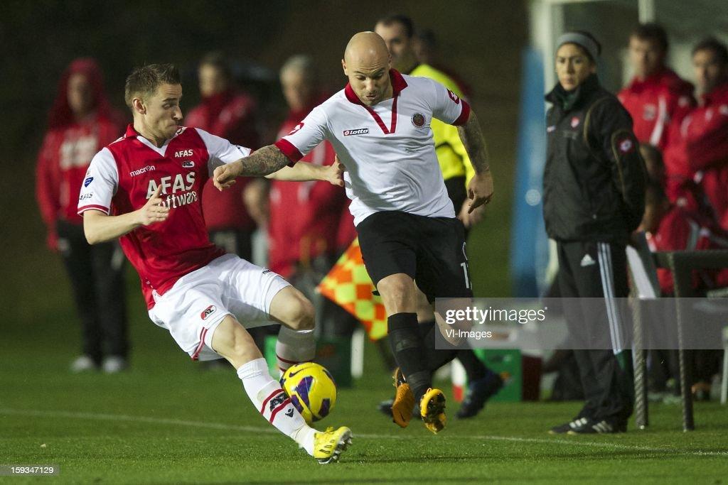 Donny Gorter of AZ, Hursut Meric of Genclerbirligi SK during the friendly match between AZ Alkmaar and Genclerbirligi on January 12, 2013 at Belek, Turkey