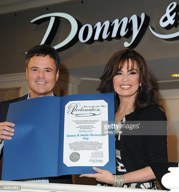 Donny Osmond and Marie Osmond attend news conference at the Flamingo Las Vegas on October 2 2013 in Las Vegas Nevada