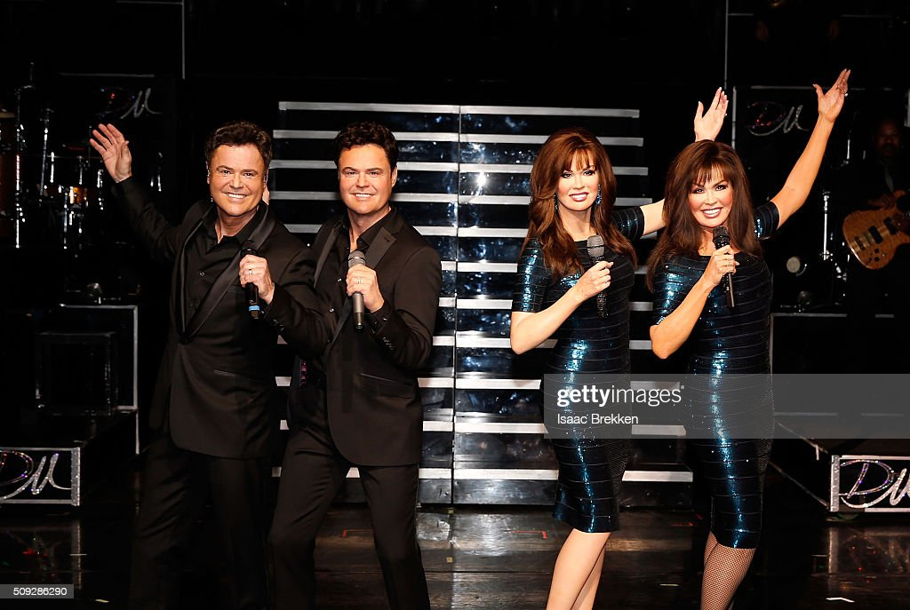 <a gi-track='captionPersonalityLinkClicked' href=/galleries/search?phrase=Donny+Osmond&family=editorial&specificpeople=214564 ng-click='$event.stopPropagation()'>Donny Osmond</a> and <a gi-track='captionPersonalityLinkClicked' href=/galleries/search?phrase=Marie+Osmond&family=editorial&specificpeople=217477 ng-click='$event.stopPropagation()'>Marie Osmond</a> unveil their first Madame Tussauds wax figures during their show 'Donny & Marie' at Flamingo Las Vegas on February 9, 2016 in Las Vegas, Nevada.