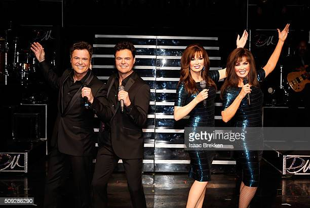 Donny Osmond and Marie Osmond unveil their first Madame Tussauds wax figures during their show 'Donny Marie' at Flamingo Las Vegas on February 9 2016...