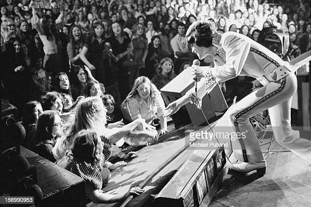 Donny Osmond from American pop group The Osmonds performs live on stage at the Rainbow Theatre London 4th November 1972
