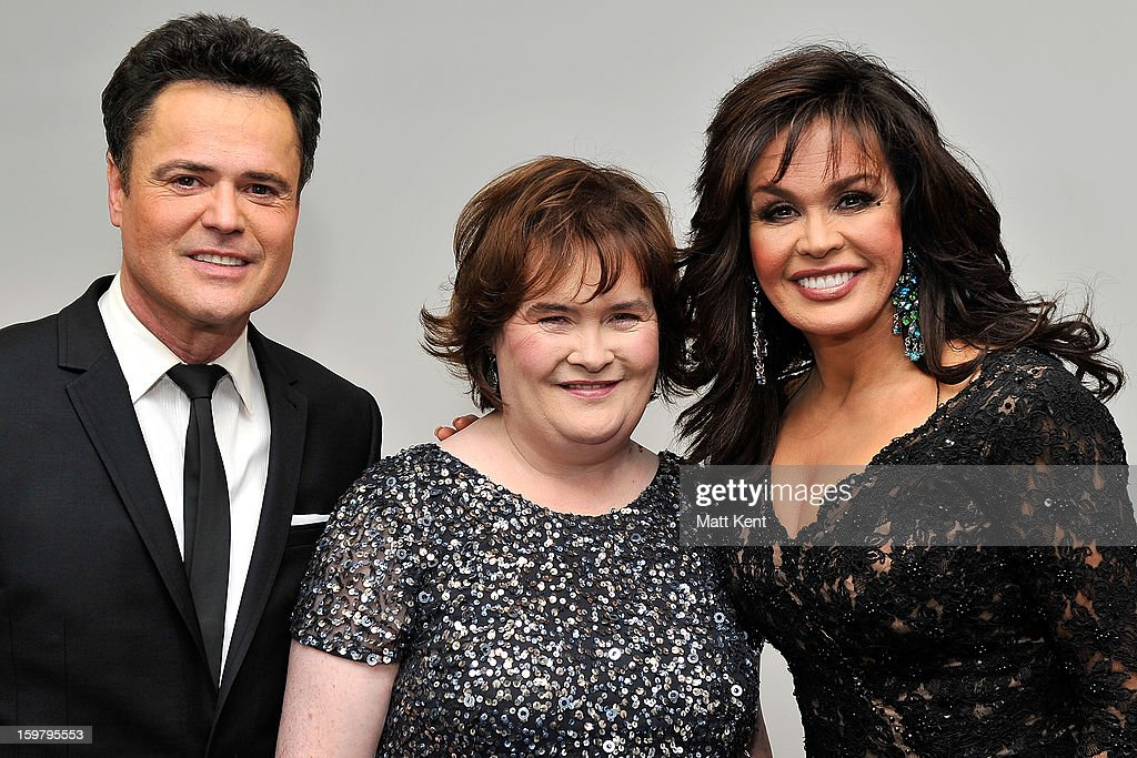 <a gi-track='captionPersonalityLinkClicked' href=/galleries/search?phrase=Donny+Osmond&family=editorial&specificpeople=214564 ng-click='$event.stopPropagation()'>Donny Osmond</a>, <a gi-track='captionPersonalityLinkClicked' href=/galleries/search?phrase=Susan+Boyle&family=editorial&specificpeople=5810021 ng-click='$event.stopPropagation()'>Susan Boyle</a> and <a gi-track='captionPersonalityLinkClicked' href=/galleries/search?phrase=Marie+Osmond&family=editorial&specificpeople=217477 ng-click='$event.stopPropagation()'>Marie Osmond</a> pose backstage at the Donny and <a gi-track='captionPersonalityLinkClicked' href=/galleries/search?phrase=Marie+Osmond&family=editorial&specificpeople=217477 ng-click='$event.stopPropagation()'>Marie Osmond</a> concert at the 02 Arena on January 20, 2013 in London, England.