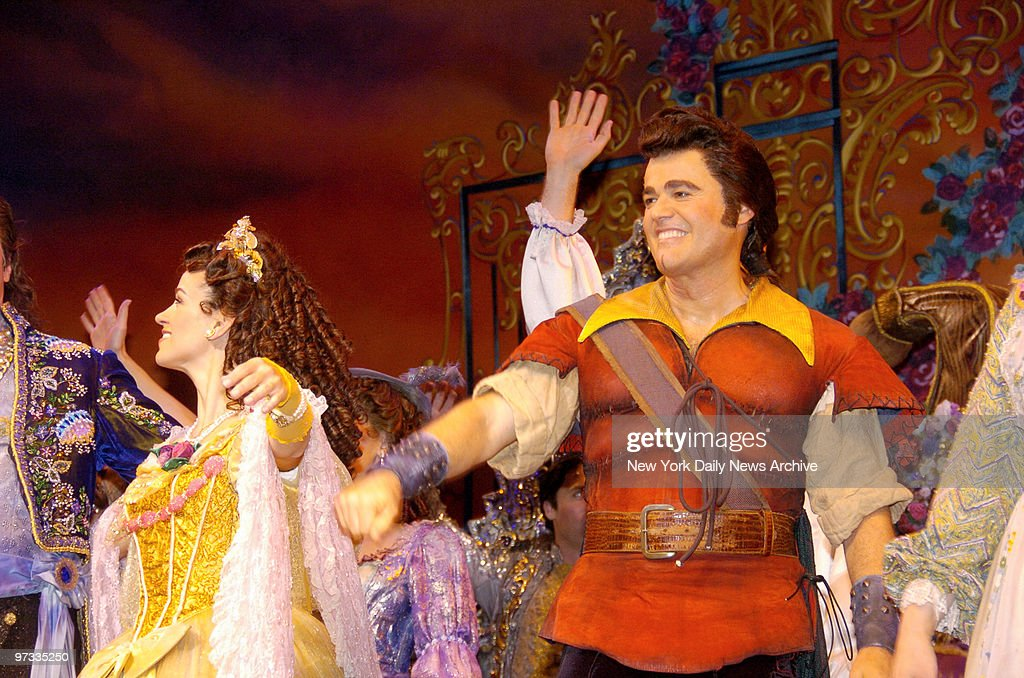 Donny Osmond takes a curtain bow following his opening night performance as Gaston in the Broadway musical 'Beauty and the Beast' at the LuntFontanne...