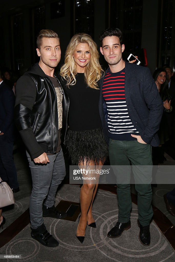 DONNY! -- 'Donny! Premiere Party' -- Pictured: (l-r) Lance Bass, Christie Brinkley from 'Donny!', Michael Turchin --
