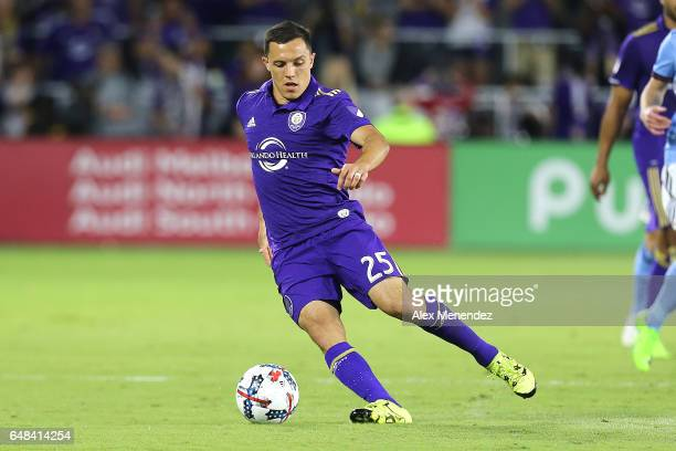 Donny Toia of Orlando City SC dribbles the ball during a MLS soccer match between New York City FC and Orlando City SC at the Orlando City Stadium on...