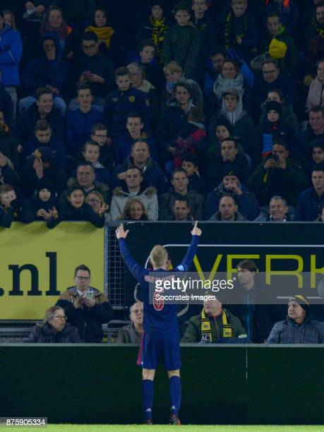 Donny van de Beek of Ajax celebrates 03 during the Dutch Eredivisie match between NAC Breda v Ajax at the Rat Verlegh Stadium on November 18 2017 in...