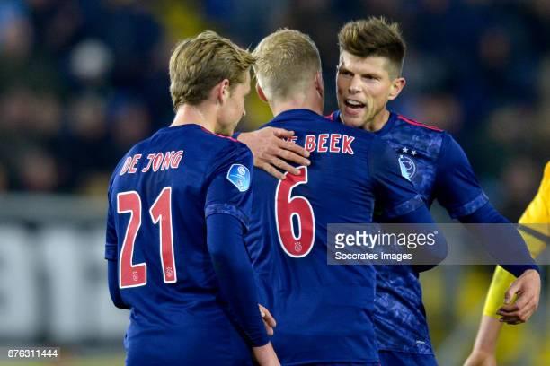 Donny van de Beek of Ajax celebrates 08 with Frenkie de Jong of Ajax Klaas Jan Huntelaar of Ajax during the Dutch Eredivisie match between NAC Breda...
