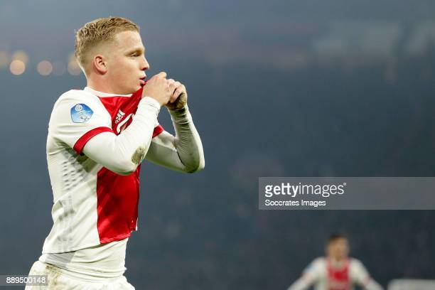 Donny van de Beek of Ajax celebrates the 30 during the Dutch Eredivisie match between Ajax v PSV at the Johan Cruijff Arena on December 10 2017 in...