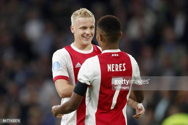Donny van de Beek of Ajax David Neres of Ajax during the Dutch Eredivisie match between Ajax Amsterdam and PEC Zwolle at the Amsterdam Arena on...
