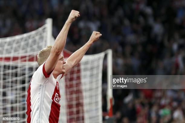 Donny van de Beek of Ajax during the UEFA Champions League third round qualifying first leg match between Ajax Amsterdam and OGC Nice at the...