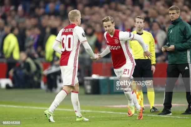 Donny van de Beek of Ajax Frenkie de Jong of Ajaxduring the UEFA Europa League quarter final match between Ajax Amsterdam and FC Schalke 04 at the...