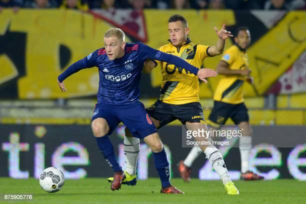 Donny van de Beek of Ajax Giovanni Korte of NAC Breda during the Dutch Eredivisie match between NAC Breda v Ajax at the Rat Verlegh Stadium on...
