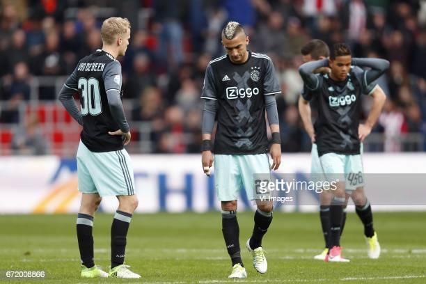 Donny van de Beek of Ajax Hakim Ziyech of Ajax Justin Kluivert of Ajax Nick Viergever of Ajaxduring the Dutch Eredivisie match between PSV Eindhoven...