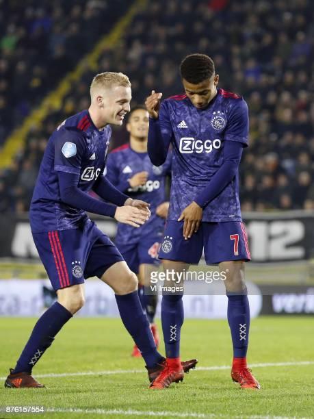 Donny van de Beek of Ajax Justin Kluivert of Ajax David Neres of Ajax during the Dutch Eredivisie match between NAC Breda and Ajax Amsterdam at the...