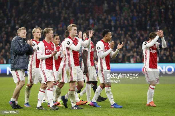 Donny van de Beek of Ajax Kasper Dolberg of Ajax Frenkie de Jong of Ajax Justin Kluivert of Ajax Nick Viergever of Ajax Matthijs de Ligt of Ajax...