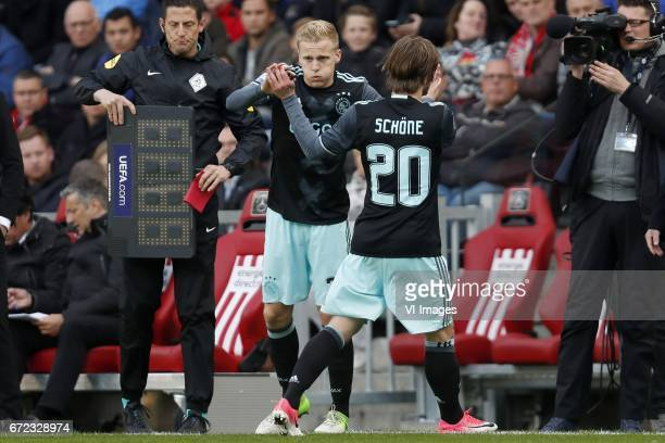 Donny van de Beek of Ajax Lasse Schone of Ajaxduring the Dutch Eredivisie match between PSV Eindhoven and Ajax Amsterdam at the Phillips stadium on...