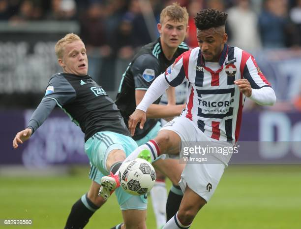 Donny van de Beek of Ajax Matthijs de Ligt of Ajax Funso Ojo of Willem IIduring the Dutch Eredivisie match between Willem II Tilburg and Ajax...