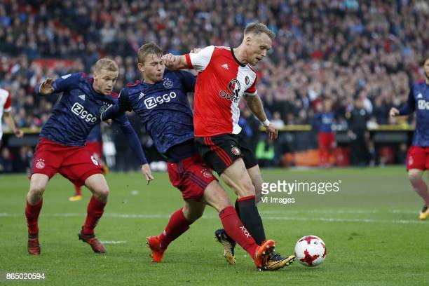 Donny van de Beek of Ajax Matthijs de Ligt of Ajax Nicolai Jorgensen of Feyenoord during the Dutch Eredivisie match between Feyenoord Rotterdam and...