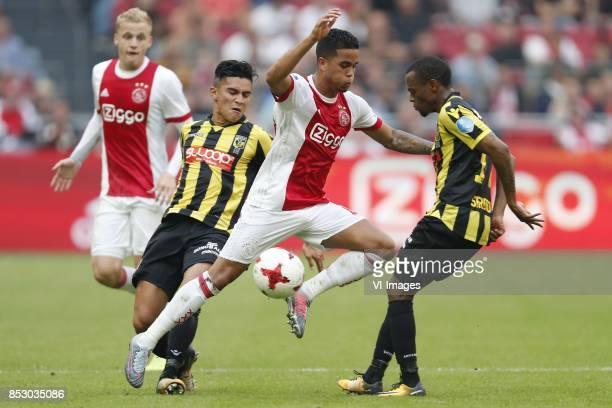 Donny van de Beek of Ajax Navarone Foor of Vitesse Justin Kluivert of Ajax Thulani Serero of Vitesse during the Dutch Eredivisie match between Ajax...