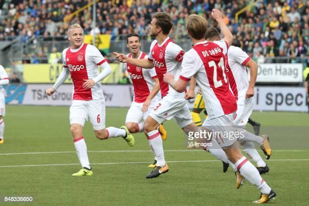 Donny van de Beek of Ajax Nick Viergever of Ajax Joel Veltman of Ajax Frenkie de Jong of Ajax during the Dutch Eredivisie match between ADO Den Haag...