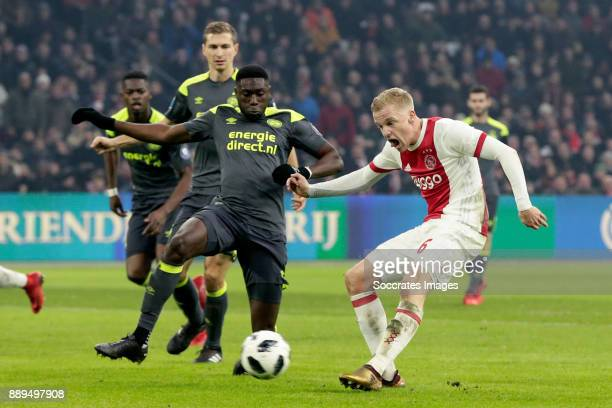 Donny van de Beek of Ajax scores the third goal to make it 30 during the Dutch Eredivisie match between Ajax v PSV at the Johan Cruijff Arena on...
