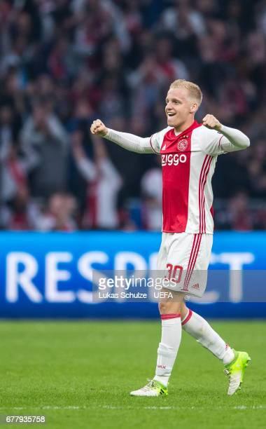 Donny van de Beek of Amsterdam reacts after winning the Uefa Europa League semi final first leg match between Ajax Amsterdam and Olympique Lyonnais...
