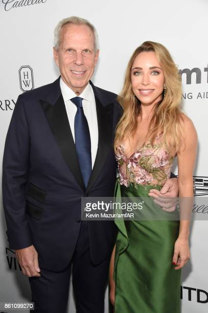 Donor Steve Tisch and Katia Francesconi attends the amfAR Gala Los Angeles 2017 at Ron Burkle's Green Acres Estate on October 13 2017 in Beverly...