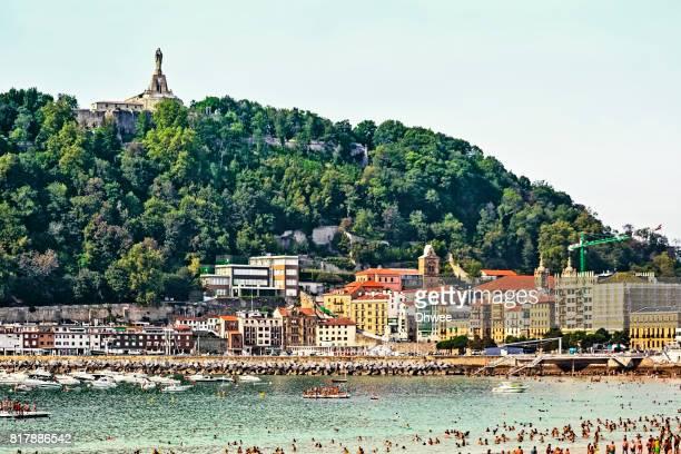 Donostia San Sebastian With Its Monte Urgull And Beach