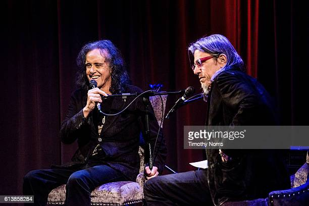 Donovan and Scott Goldman speak during An Evening with Donovan at The GRAMMY Museum on October 10 2016 in Los Angeles California