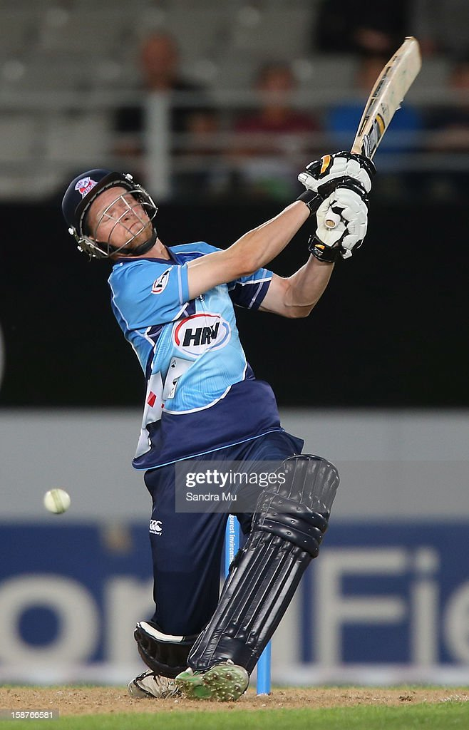 Donovan Grobbelaar of Auckland bats during the HRV Cup Twenty20 match between the Auckland Aces and Wellington Firebirds at Eden Park on December 28, 2012 in Auckland, New Zealand.