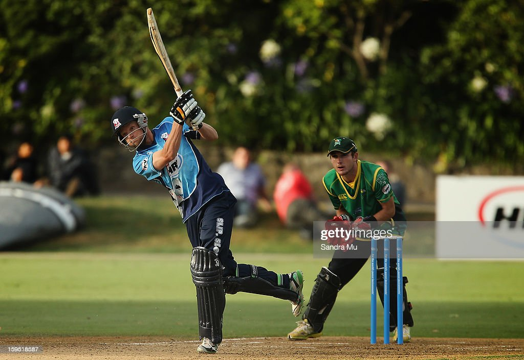Donovan Grobbelaar of the Aces bats during the HRV Cup Twenty20 match between the Auckland Aces and the Central Stags at Eden Park on January 15, 2013 in Auckland, New Zealand.