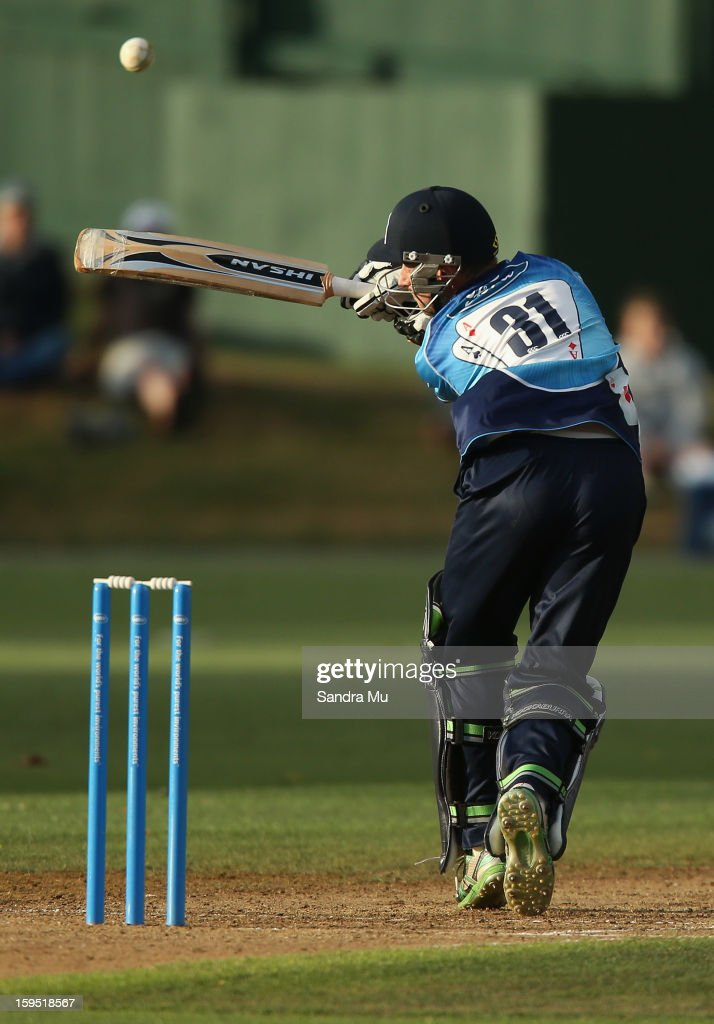 Donovan Grobbelaar of the Aces hits a boundary during the HRV Cup Twenty20 match between the Auckland Aces and the Central Stags at Eden Park on January 15, 2013 in Auckland, New Zealand.
