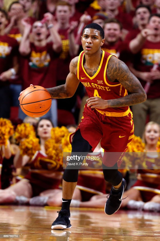 Donovan Jackson #4 of the Iowa State Cyclones drives the ball in the first half of play at Hilton Coliseum on December 7, 2017 in Ames, Iowa.