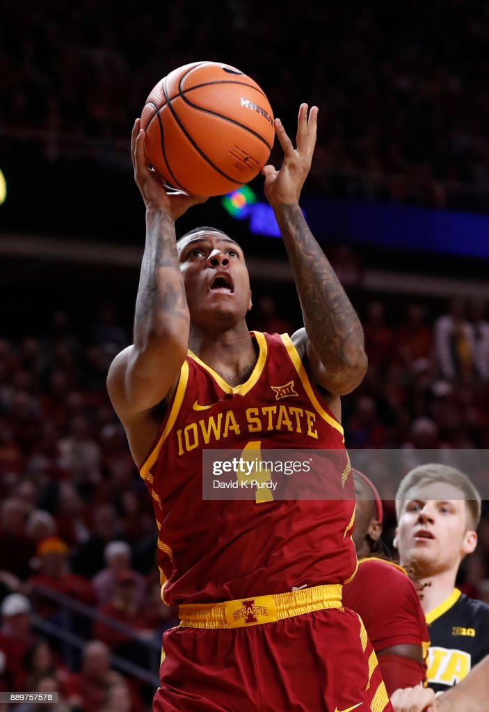 Donovan Jackson #4 of the Iowa State Cyclones takes a shot in the first half of play against the Iowa Hawkeyes at Hilton Coliseum on December 7, 2017 in Ames, Iowa.