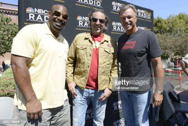 Donovan McNabb James 'JC' Curleigh and Mark Malone broadcast their show 'Under Center' live from Levi's Plaza on September 11 2014 in San Francisco...