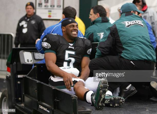 Donovan McNabb of the Philadelphia Eagles is carted off the field after injuring his right knee in the second quarter against the Tennessee Titans on...
