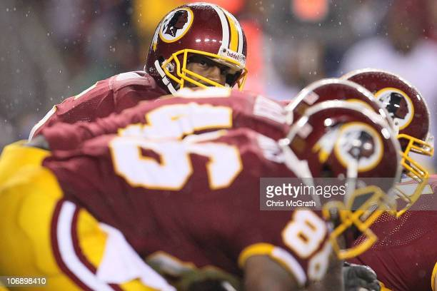Donovan McNabb of the Washington Redskins looks down the line against the Philadelphia Eagles on November 15 2010 at FedExField in Landover Maryland