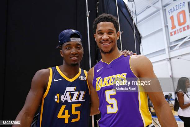 Donovan Mitchell of the Utah Jazz and Josh Hart of the Los Angeles Lakers behind the scenes during the 2017 NBA Rookie Photo Shoot at MSG training...
