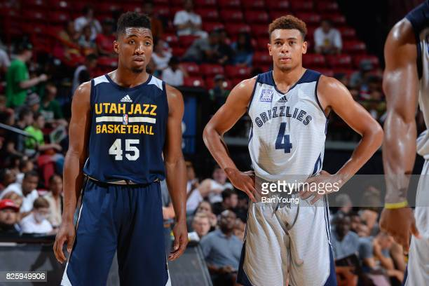 Donovan Mitchell of the Utah Jazz and Wade Baldwin IV of the Memphis Grizzlies stand on the court during the 2017 NBA Las Vegas Summer League game on...