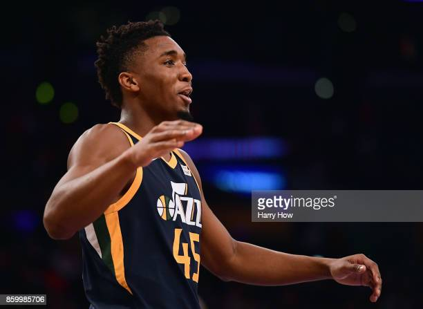 Donovan Mitchell of the Utah Jazz celebrates a lead during a 10599 win over the Los Angeles Lakers at Staples Center on October 10 2017 in Los...
