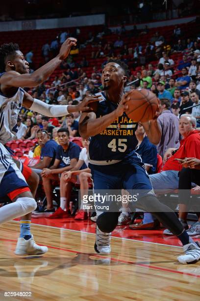 Donovan Mitchell of the Utah Jazz dribbles the ball during the 2017 NBA Las Vegas Summer League game against the Memphis Grizzlies on July 11 2017 at...