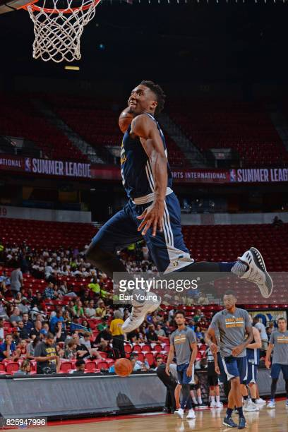 Donovan Mitchell of the Utah Jazz dunks the ball before the 2017 NBA Las Vegas Summer League game against the Memphis Grizzlies on July 11 2017 at...