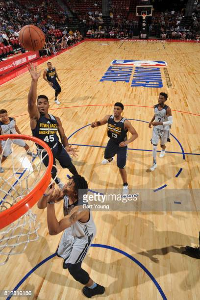 Donovan Mitchell of the Utah Jazz goes to the basket against the Memphis Grizzlies on July 11 2017 at the Thomas Mack Center in Las Vegas Nevada NOTE...
