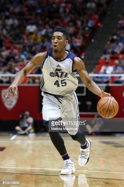 Donovan Mitchell of the Utah Jazz handles the ball against the Boston Celtics during the 2017 Utah Summer League on July 6 2017 at Jon M Huntsman...